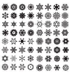 snowflake black flat icon set vector image