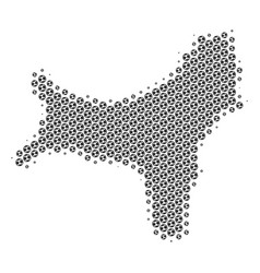 Soccer ball christmas island map mosaic vector