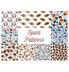 Sporting items game equipment seamless patterns vector