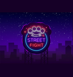 Street fight logo in neon style fight club neon vector