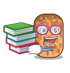 Student with book fried tempeh on mascot plate vector