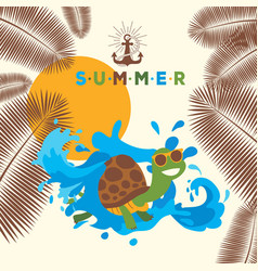 summer banner with turtle cartoon character vector image