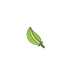Sword and leaf logo designs inspiration vector