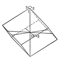 Symmetry of rhombohedral class vintage vector