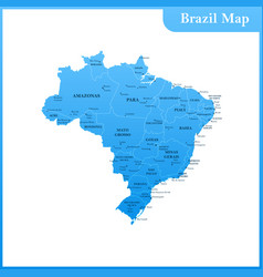 The detailed map of the brazil vector