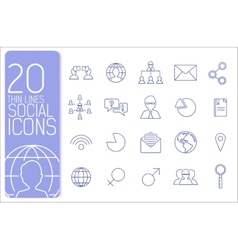thin line business set icons concept design vector image vector image