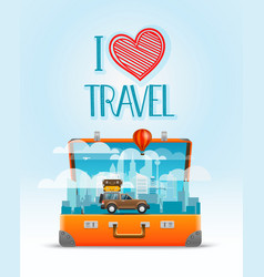 Travel bag i love travel vector