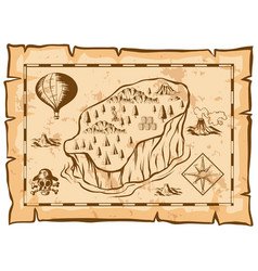 Treasure map with island and balloon vector