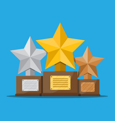 trophy winner star cup with wooden base vector image