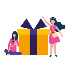 two woman using smartphone and gift box vector image