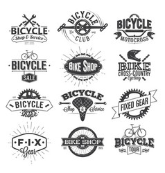 typographic bicycle label design and logo vector image