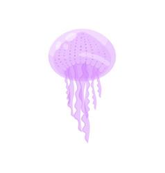 violet cute ocean jellyfish underwater marine vector image