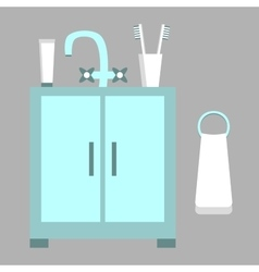 Washbasin Toothpaste Brushes Towel vector