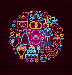 wedding neon concept vector image