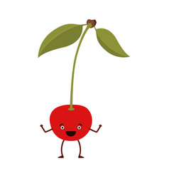 White background of cherry caricature with stem vector