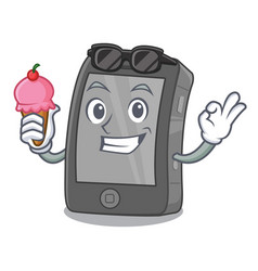 With ice cream ipad isolated with in character vector