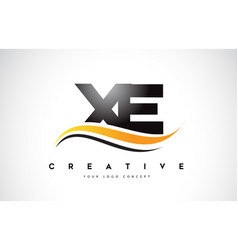 Xe x e swoosh letter logo design with modern vector