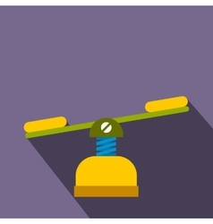 Yellow seesaw flat icon vector image