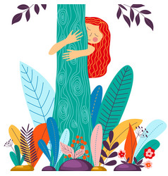 Young girl hugging tree eco friendly environment vector