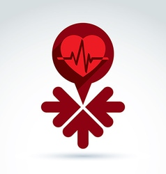 charity and donation symbol - of a red heart vector image vector image
