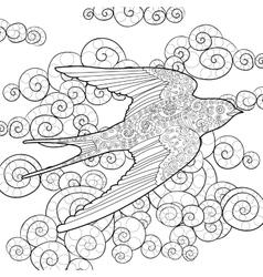 Happy swallow in the sky vector