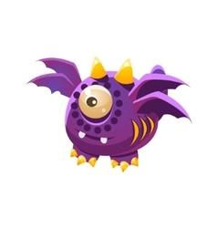 Purple Fantastic Friendly Pet Dragon With Four vector image