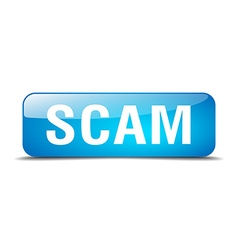 scam blue square 3d realistic isolated web button vector image vector image