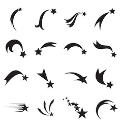 Shooting star icons comet icons vector image vector image