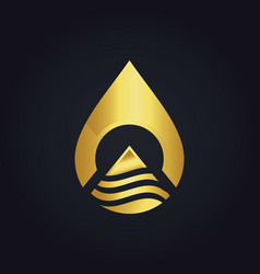 water drop technology abstract gold logo vector image