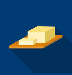 bar of butter on cutting board icon in flat style vector image