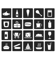 Black shop and foods icons vector