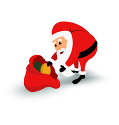 christmas santa claus character with gift bag vector image