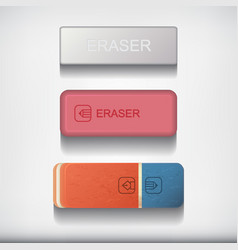eraser set isolated on white background vector image vector image