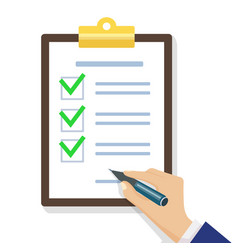 hand filling checklist on clipboard vector image