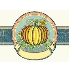 Pumpkin Vintage label on old paper vector image