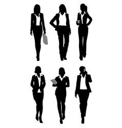 Six businesswomen silhouettes vector