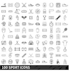 100 sport icons set outline style vector image
