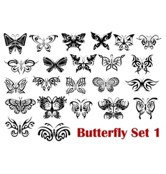 Butterfly silhouette icons vector image vector image