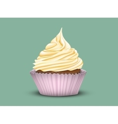 Cupcake tiered cream in a pink cup vector