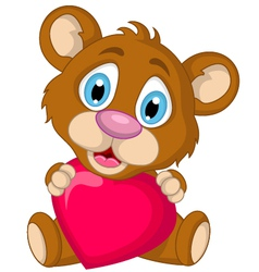 cute little brown bear cartoon holding heart love vector image