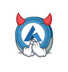 devil ardor coin mascot cartoon vector image vector image