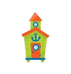 Green Beach Cabin With Anchor vector image