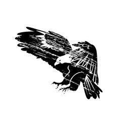 grunge silhouette of flying eagle vector image