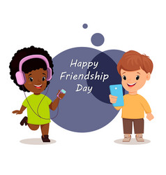 happy friendship day smiling girl and boy vector image vector image
