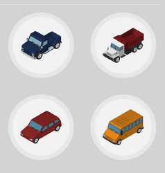Isometric transport set of car autobus suv and vector