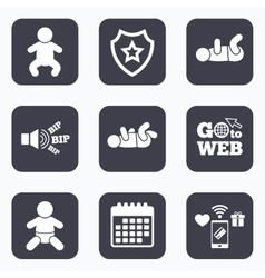 Newborn icons Baby infants symbols vector image vector image