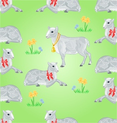 Seamless texture easter lamb and sheeps vector image