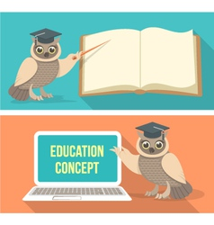 Wise Owl with Book and Laptop vector image vector image