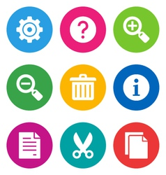 color basic interface icons vector image vector image