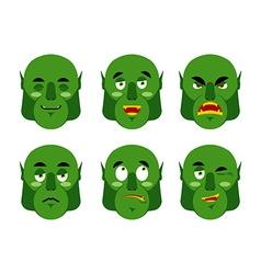 Emotions ogre Set emoji expressions avatar green vector image vector image
